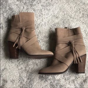 New Vince Camuto Leather Fringe Booties